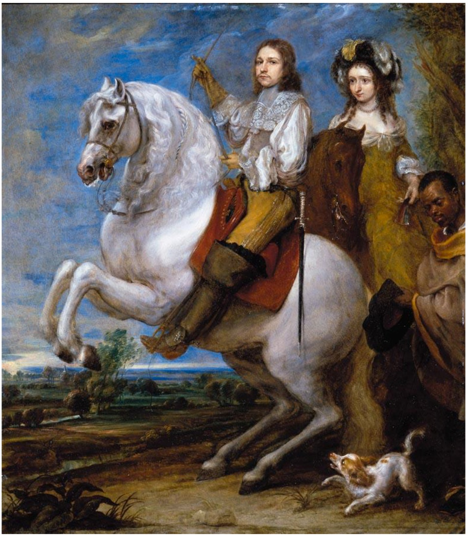 Equestrian portrait of an elegant couple, second half of the 17th century, Gonzales Coques
