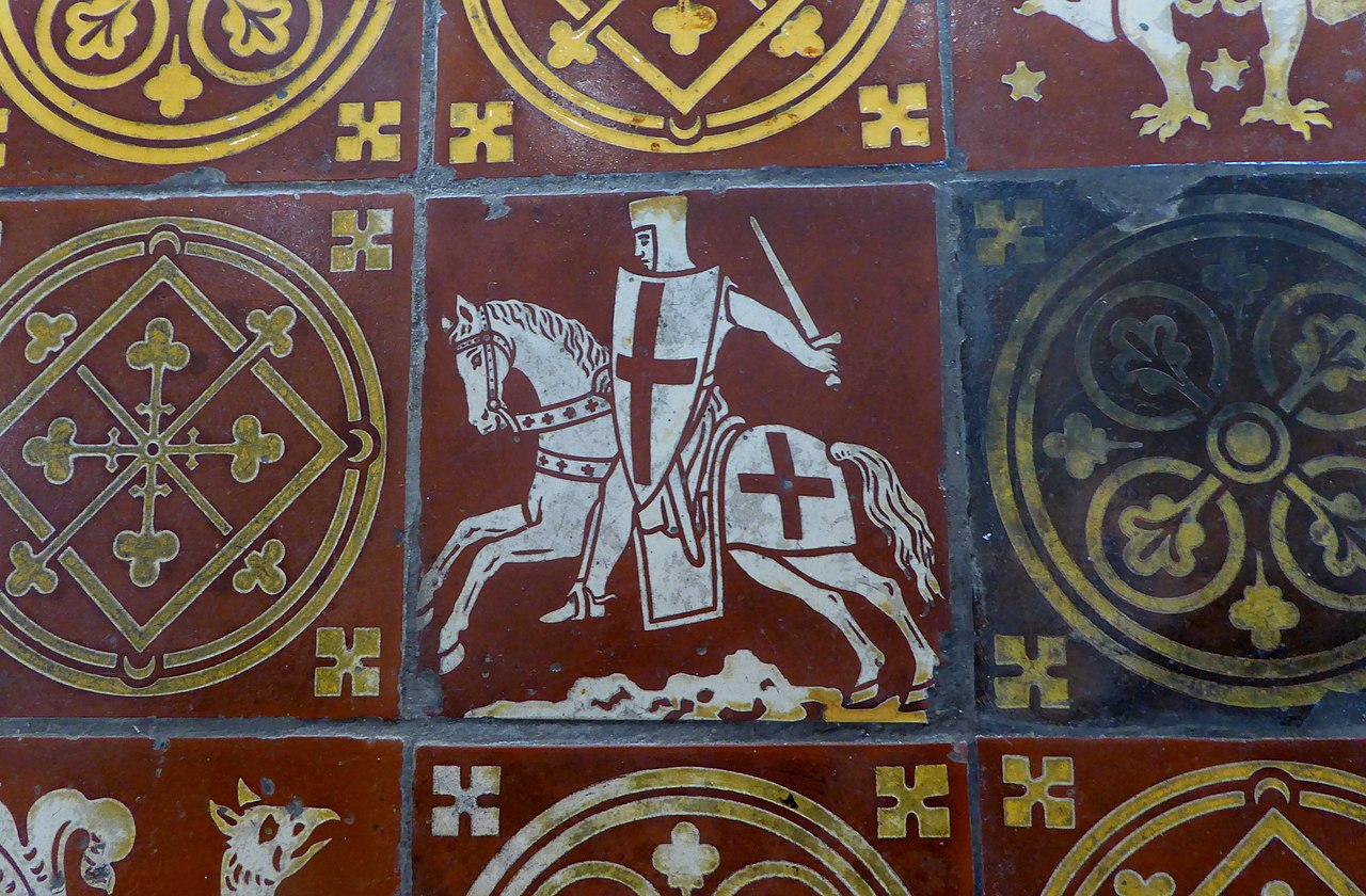 Inlaid floor tile showing a crusader, after 1185, Triforium of Temple Church, London, U.K.
