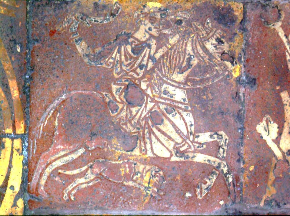 Inlaid tile showing a hunter on horseback and a dog, medieval, Chapter House, Westminster Abbey, London, U.K.
