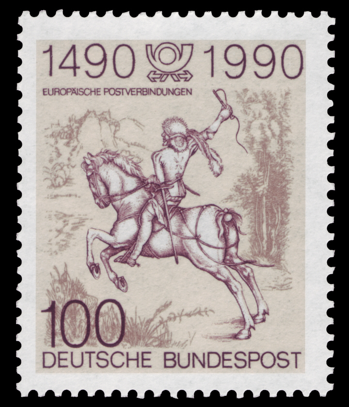 A German stamp based on a Dürer's engraving, 1990, Germany