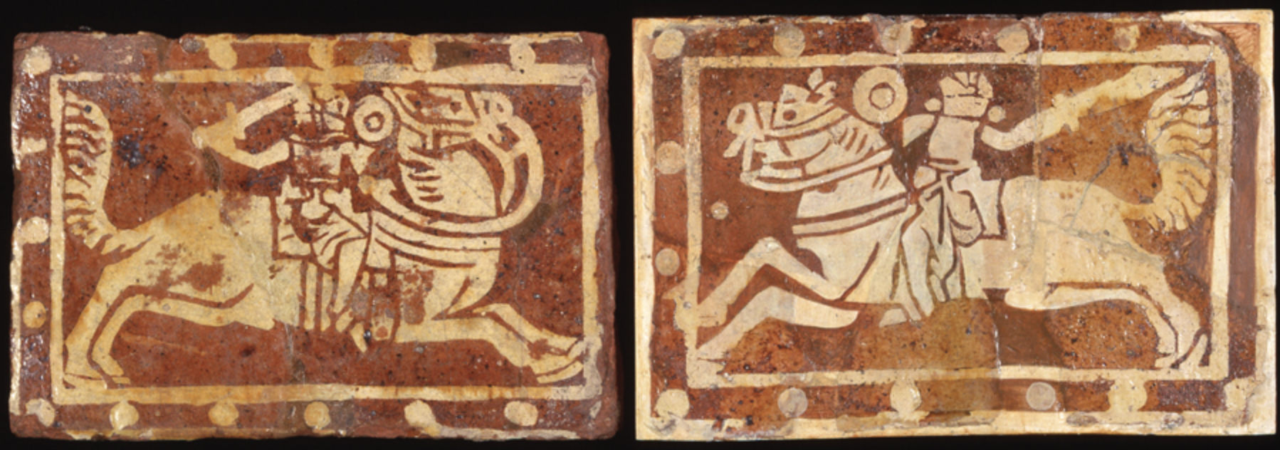 Inlaid tiles showing the battle of Richard I and Saladin, cr. 1340, Neath Abbey, Wales, U.K.