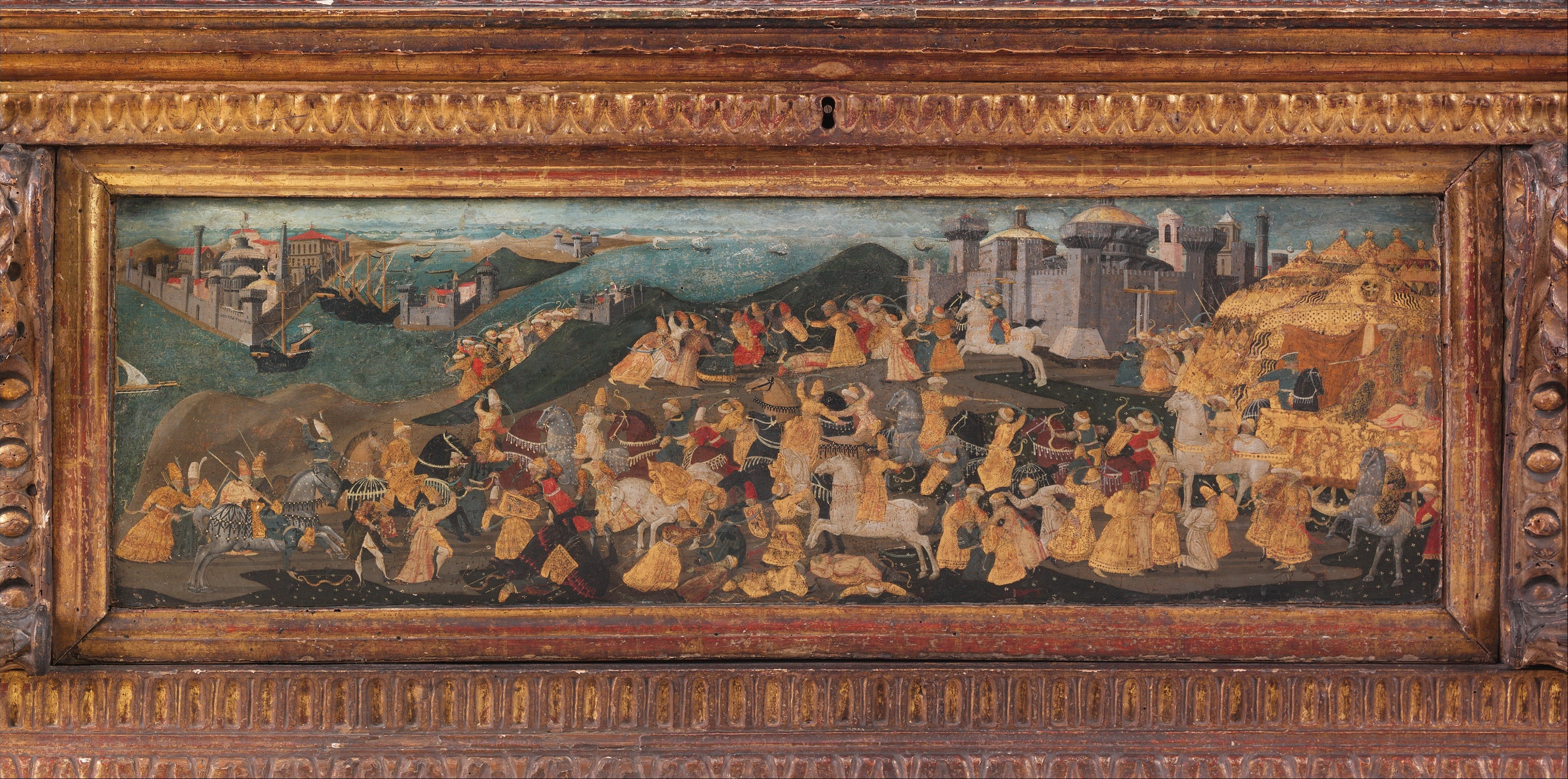 Cassone with painted front panel depicting the Conquest of Trebizond (detail), cr. 1461-5, workshop of Apollonio di Giovanni di Tomaso, Florence, Italy