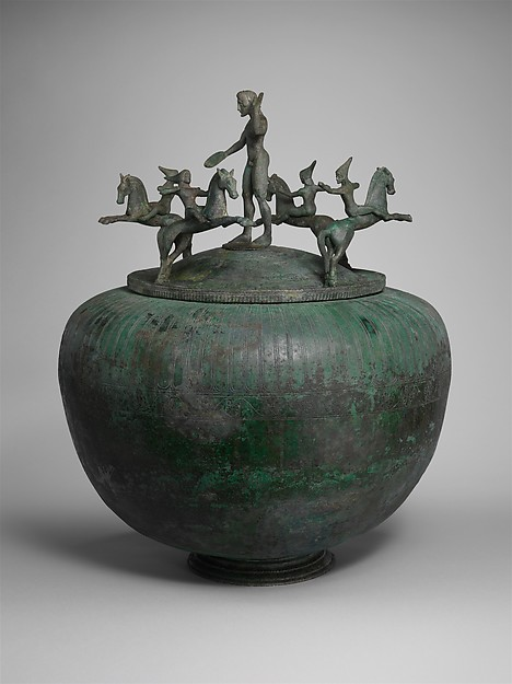 Bronze cinerary urn with lid, cr. 500 BC, Etruscan