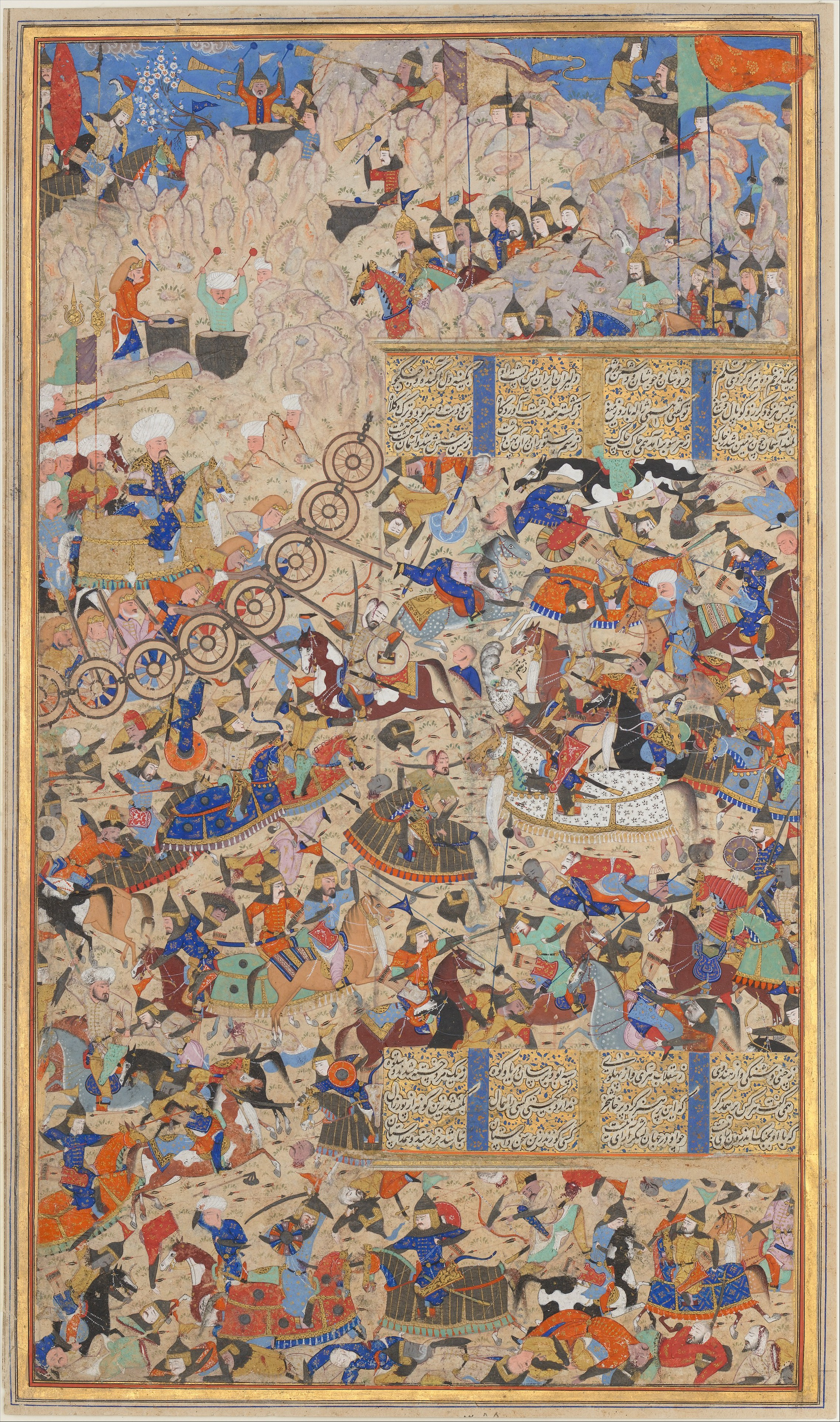 Battle Between Iranians and Turanians, illustration of the Book of Kings by Ferdawsi, cr. 1562–83, Shiraz, Persia