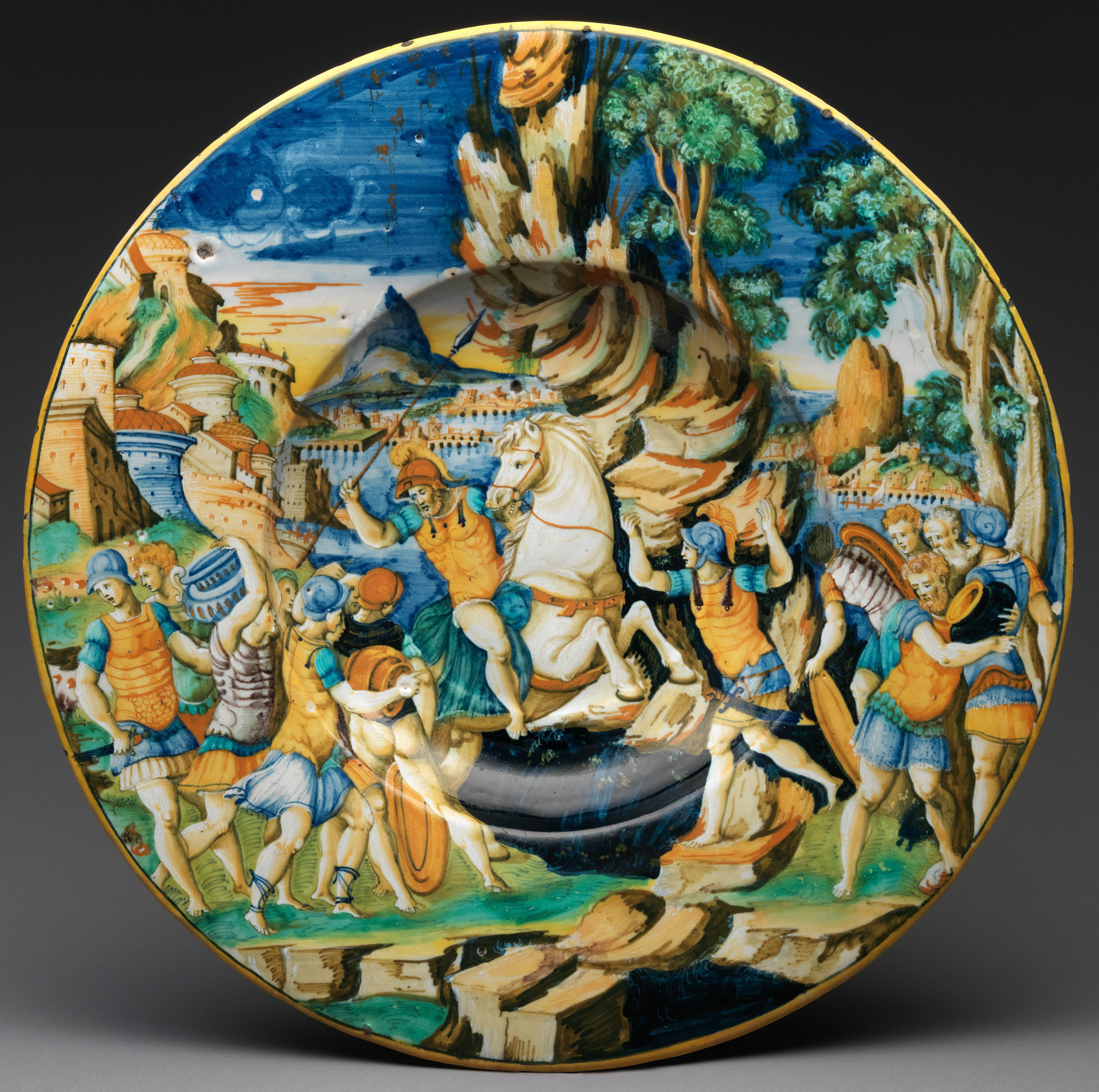 Plate with The Heroism of Marcus Curtius, 1542, workshop of Guido de Merlino, Urbino