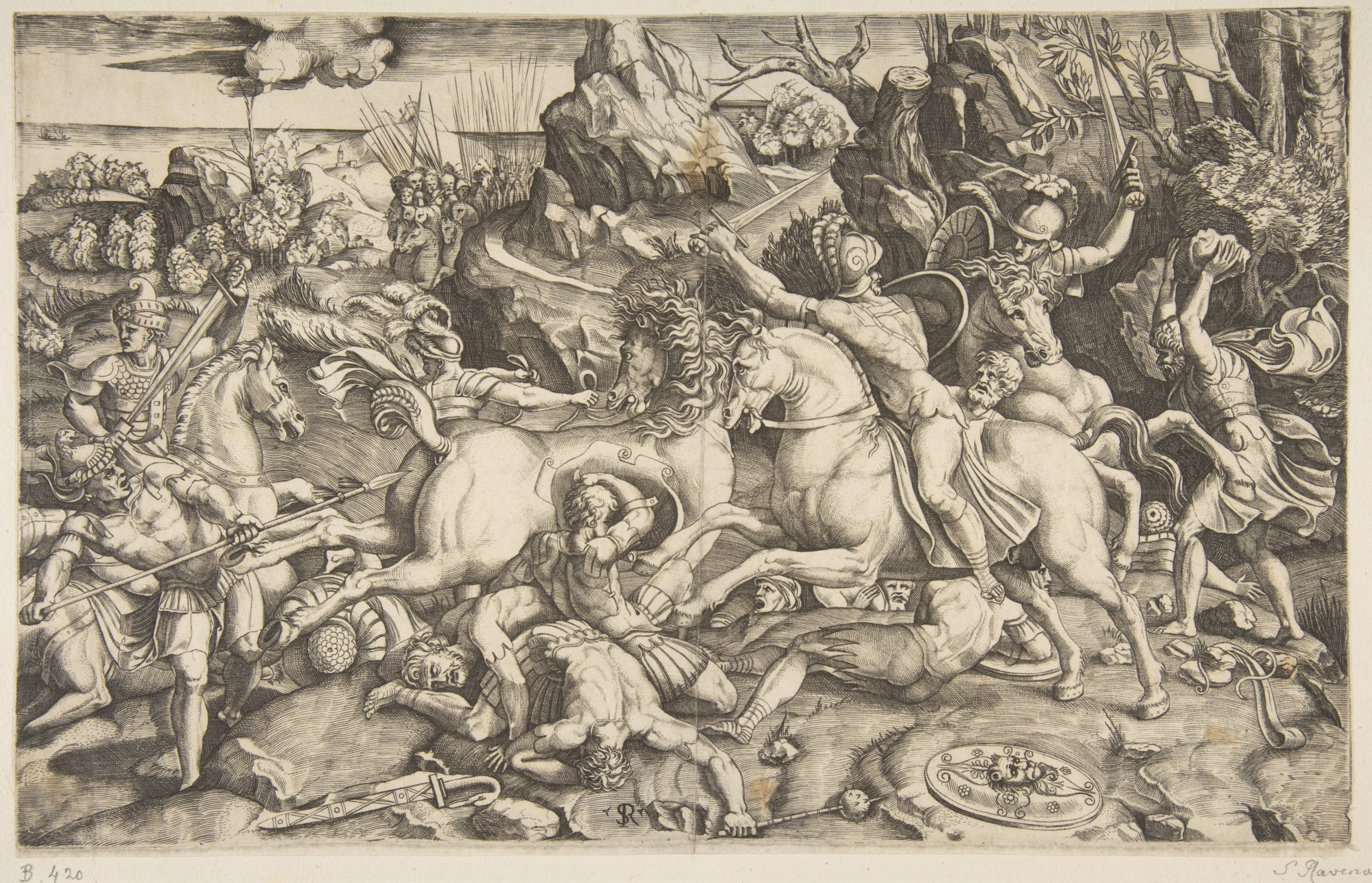 Battle scene in a landscape, after Raphael's designs for the fresco of 'The Battle of the Milvian Bridge', cr. 1520, Marco Dente, Italy