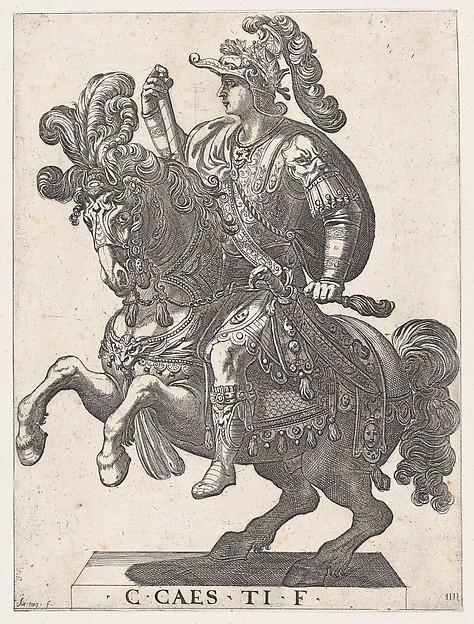 Emperor Gaius on Horseback, plate 4, 1596, Antonio Tempesta