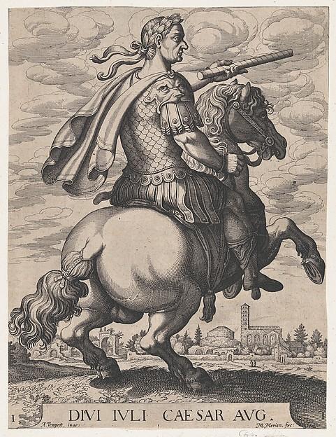 Emperor Julius Caesar on Horseback, plate 1, 1596, Antonio Tempesta