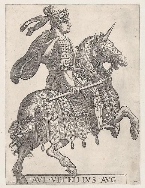 Emperor Vitellus on Horseback, plate 9, 1596, Antonio Tempesta
