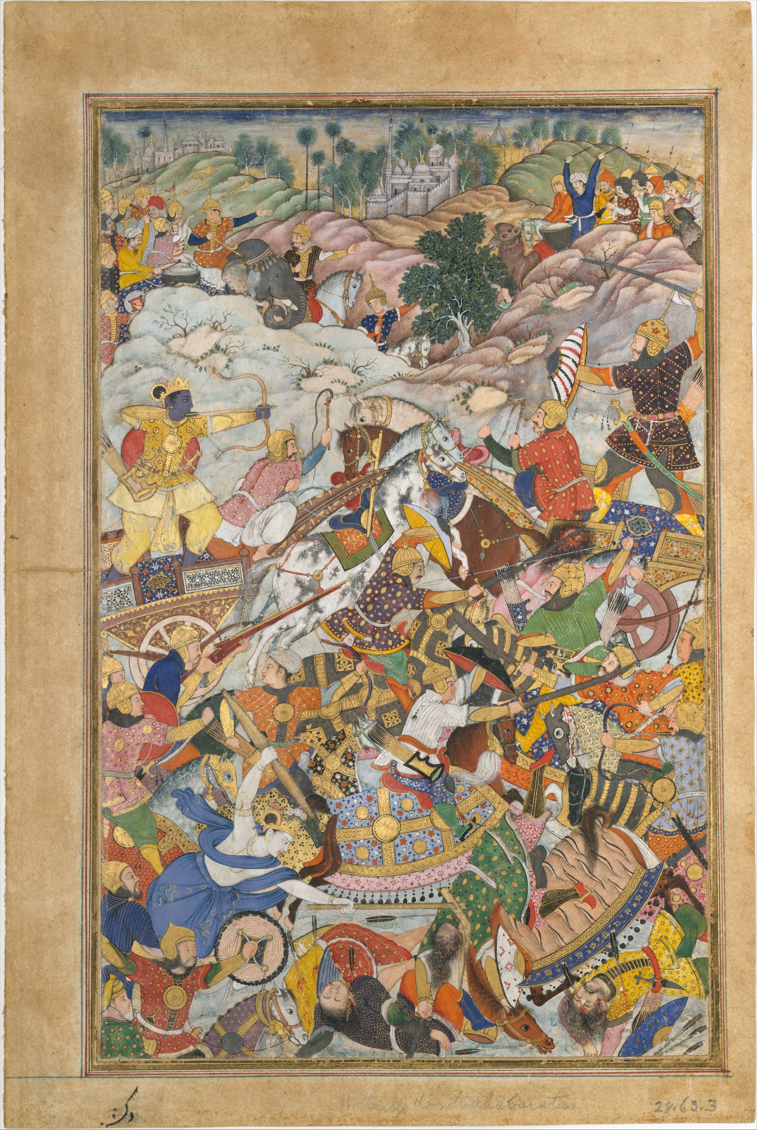 Krishna and Balarma Fighting the Enemy, illustration of Harivamsa, cr. 1590–95, Lahore, Mughal Empire