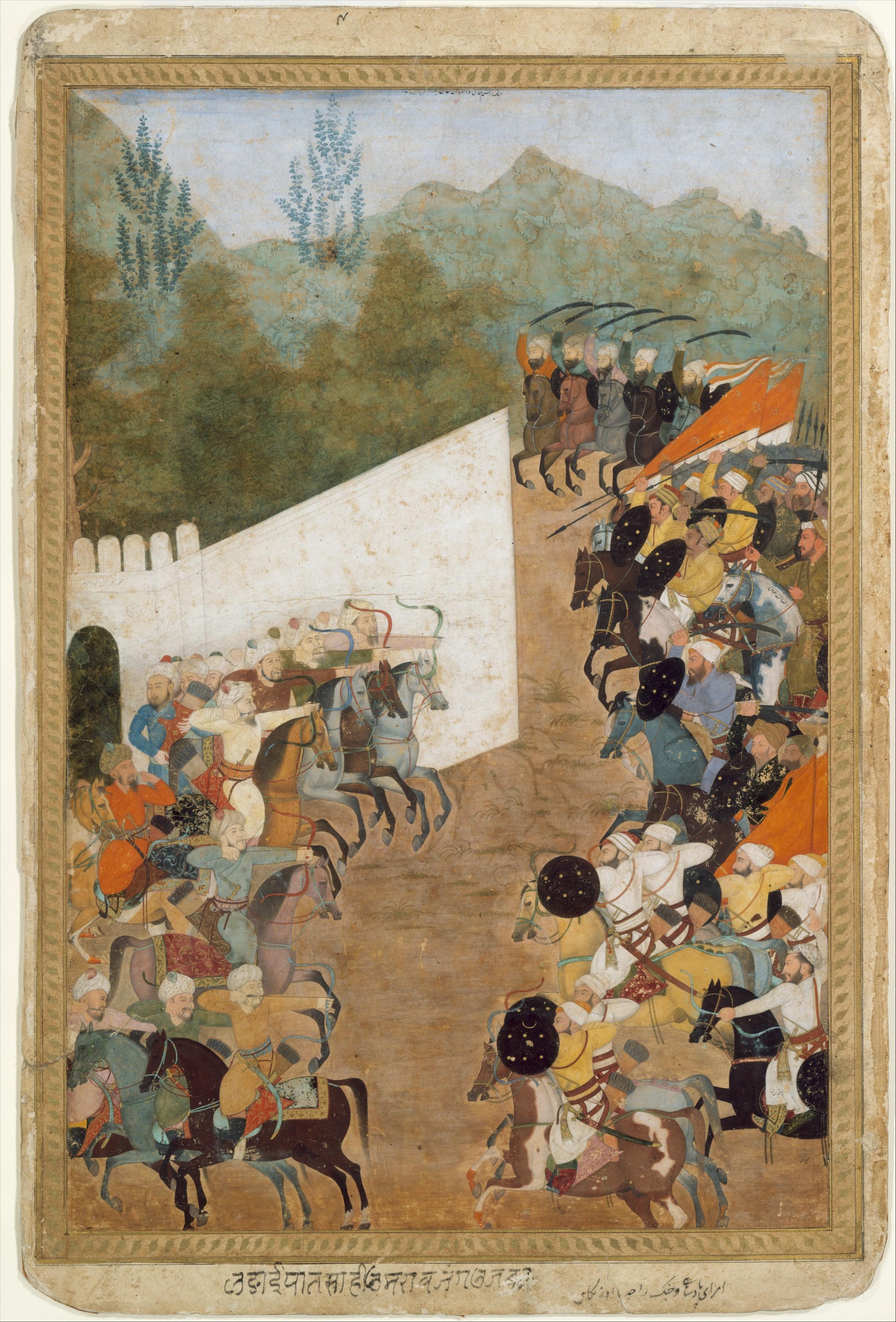 The Battle of Shahbarghan, illustration of Padshahnama by Abdul Hamid Lahori, 1646-1700, Mughal Empire