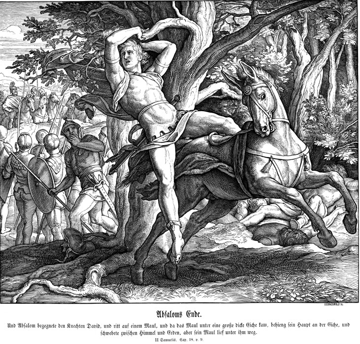 Death of Absalom, 1851-60, Julius Schnorr von Carolsfeld, from 'Bibel in Bildern', Leipzig, Germany