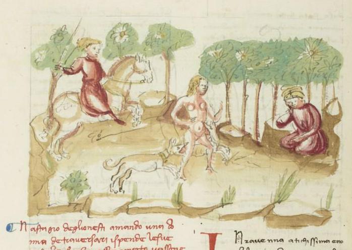 Boccaccio, Decameron: the story of Nastagio degli Onesti, 1401-24, Ludovico Ceffini, Florence, Italy