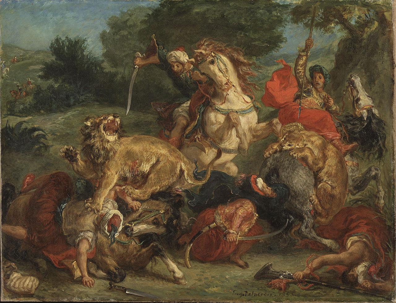 Lion Hunt, 1855, Delacroix Eugène, France