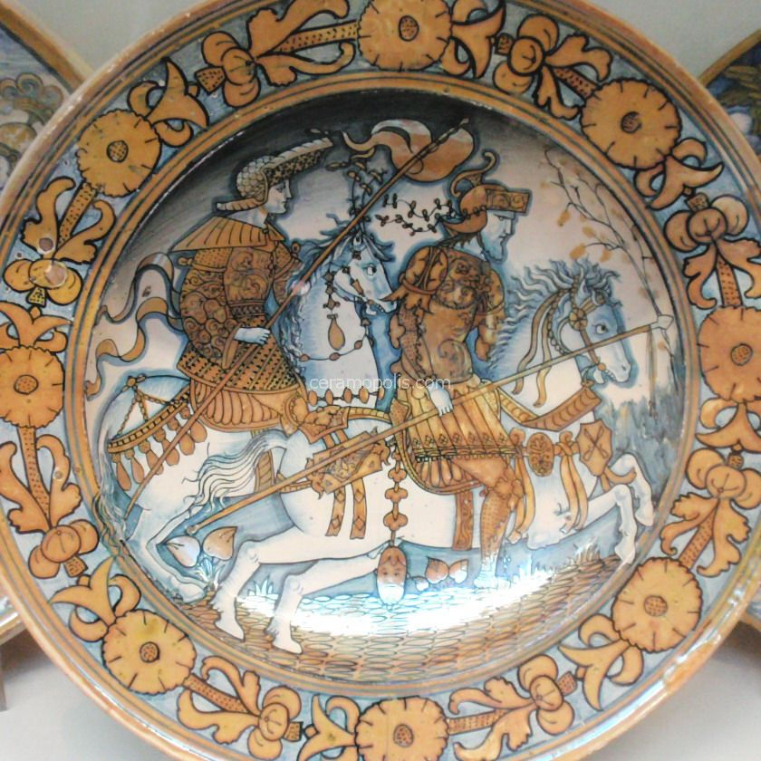 Dish depicting two riders, cr. 1520, unknown, Deruta