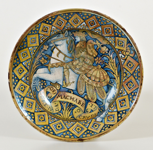 Dish depicting Judas Maccabeus, 16 century, unknown, Deruta