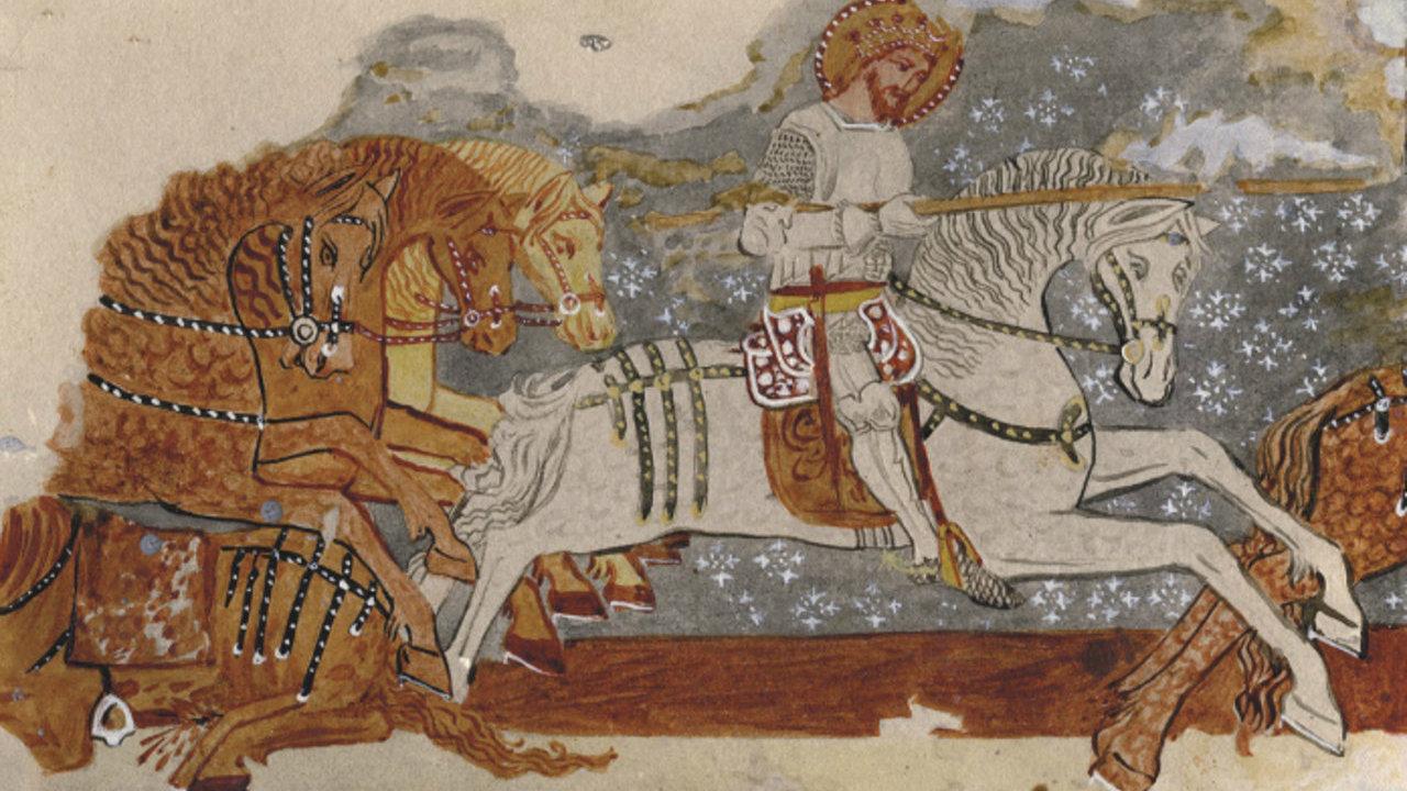 Ladislaus I of Hungary legend, fresco, 1419, Paul of Ung, fortified church of Dârjiu, Romania