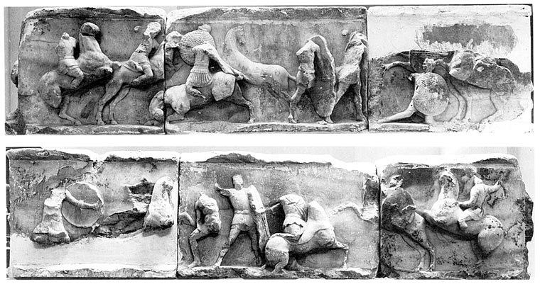 Reliefs from the monument of Aemilius Paullus (current state), shortly after 167 BC, Delphi, part of Roman Republic (now Greece)
