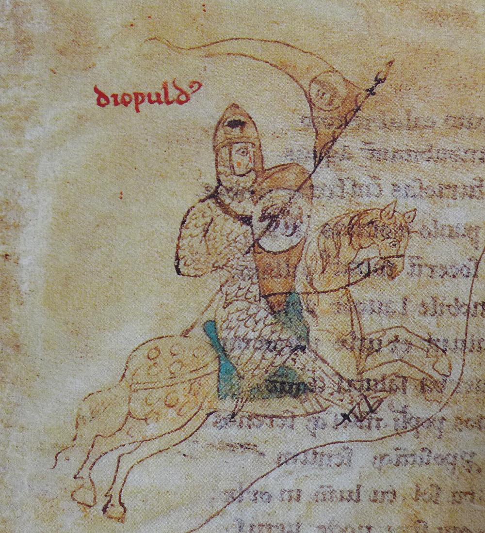 Portrait of Diepold von Schweinspeunt, illustration of 'Liber ad honorem Augusti' by Peter of Eboli, 1196, Palermo, Sicily