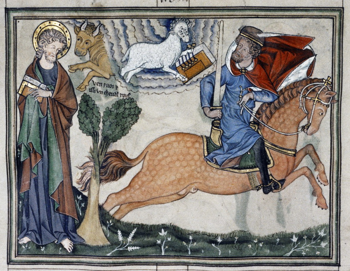 Second Horseman of the Apocalypse, illustration of Douce Apocalypse, 1265-70, England