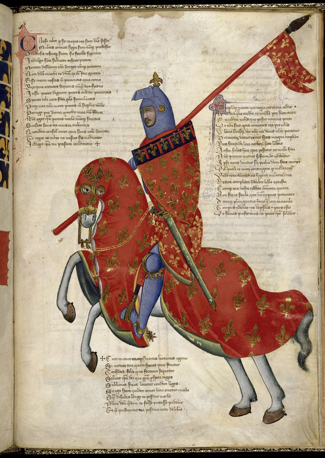 Miniature of an armed knight of Prato on horseback (a manuscript illustration), c. 1335-40, Pacino di Buonaguida (attribution), Italy