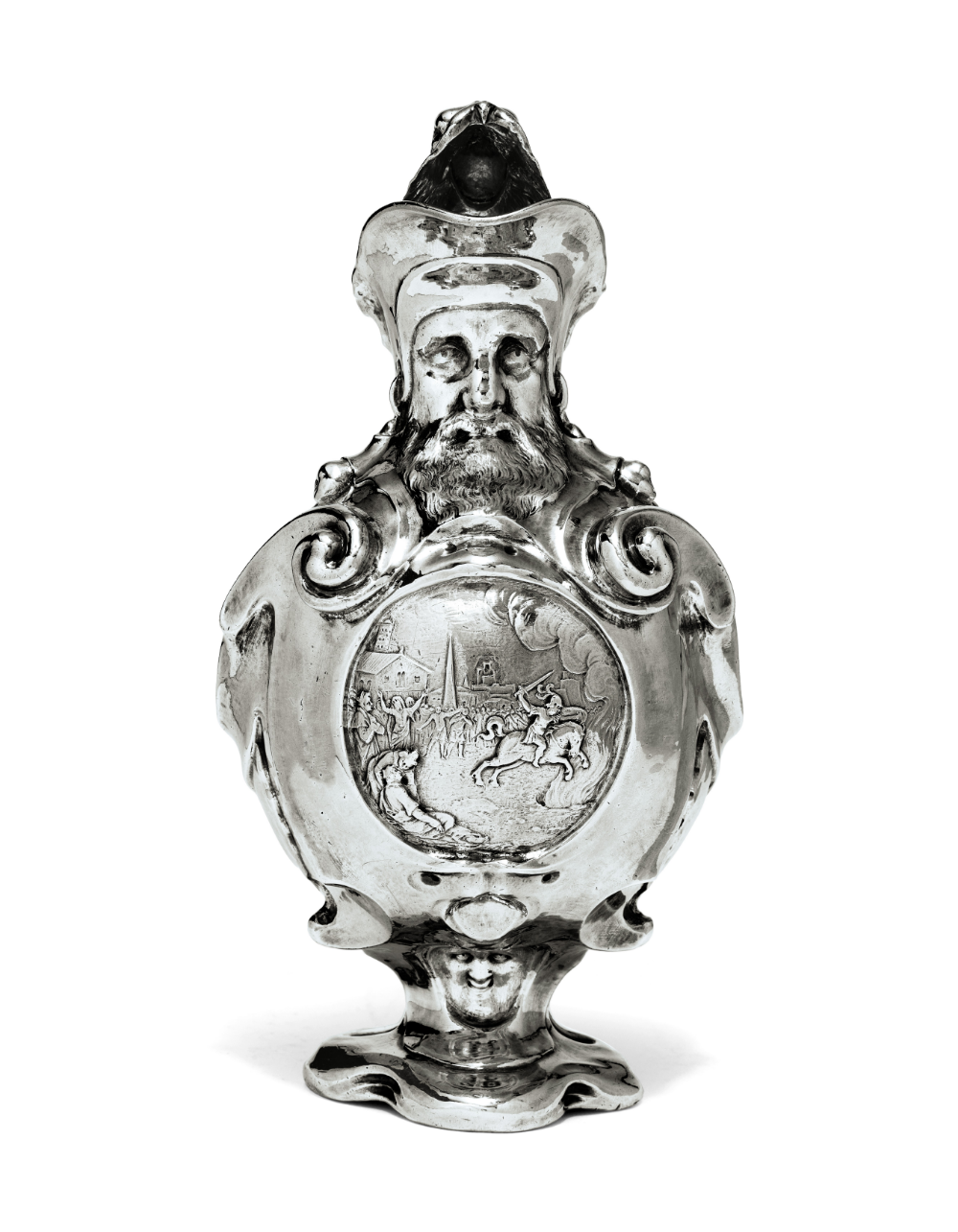 A Dutch silver ewer with scenes including Marcus Curtius sacrifice, 1619,  Adam van Vianen,  Utrecht, Netherlands
