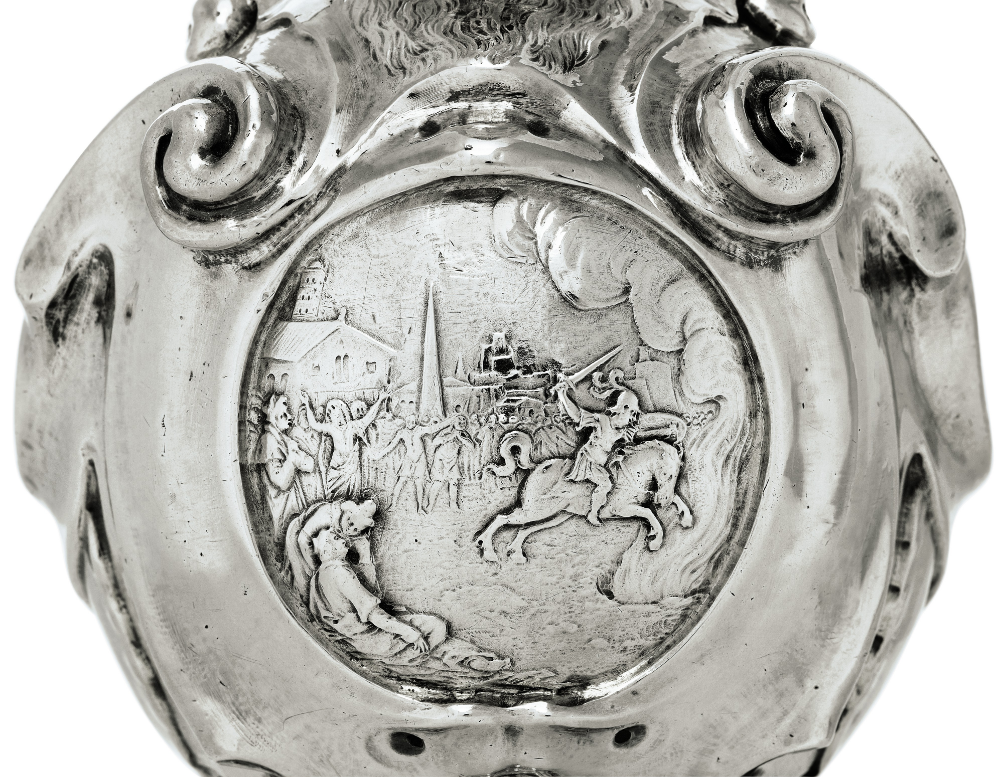 A Dutch silver ewer with scenes including Marcus Curtius sacrifice, 1619, Adam van Vianen, Utrecht, Netherlands