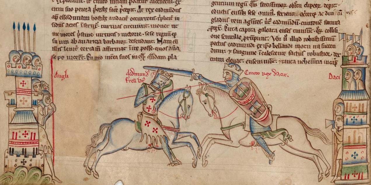 Edmund Ironside (left) and Cnut the Great at the battle of Assandun, 1016, illustration to Chronica Majora, 14th century, St. Albans, England
