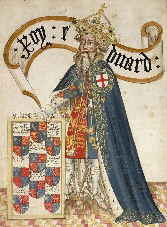 An illuminated manuscript miniature of Edward III of England, c.1430-40, William Bruges, England
