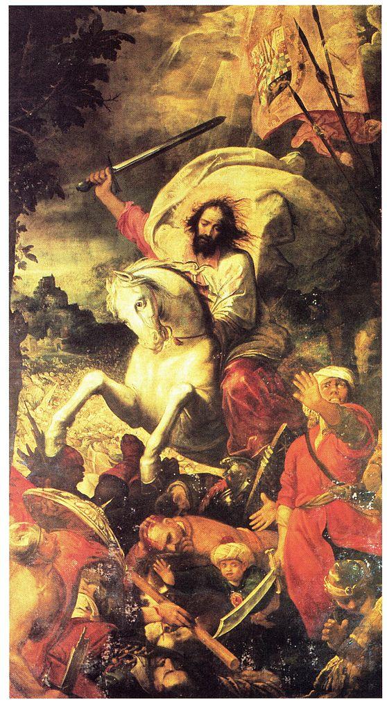 Apostle Santiago in the battle of Clavijo, 1609, Juan de las Roelas, Cathedral of Seville, Spain