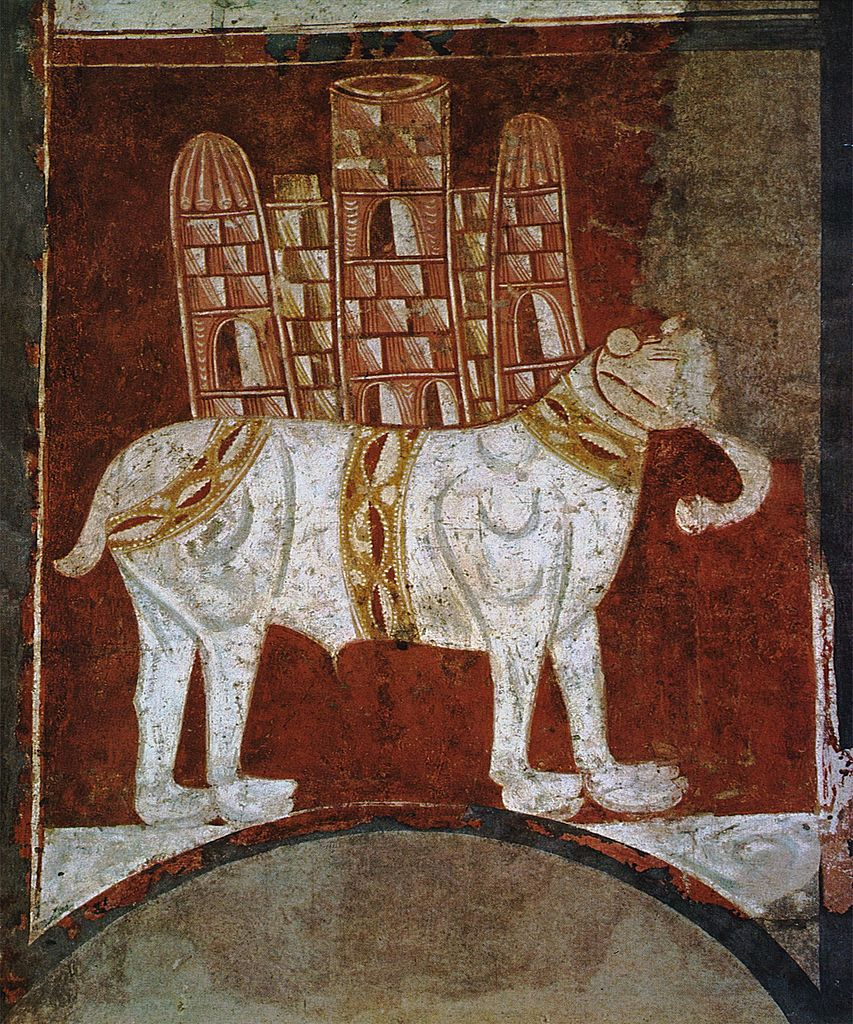 Elephant and Castle, fresco painting on mural transferred to canvas, cr. 1125, Hermitage of San Baudelio, Casillas de Berlanga, Soria, Spain