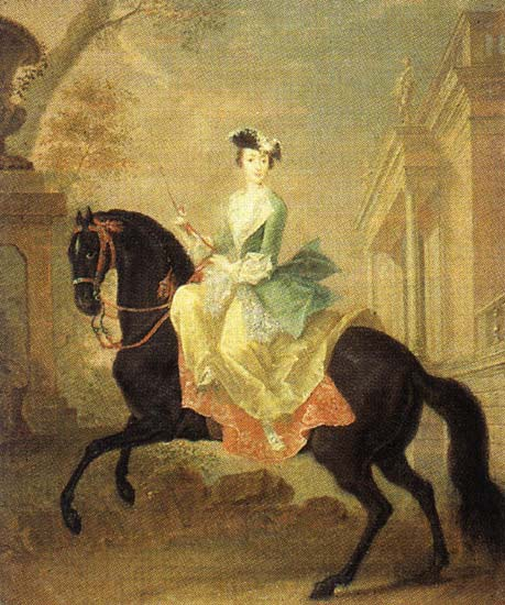 Equestrian portrait of Grand Duchess Catherine Alexeevna, G.C.Grooth, 1744