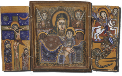 Triptych, showing St George, 18-19th century, Gondar school, Ethiopia