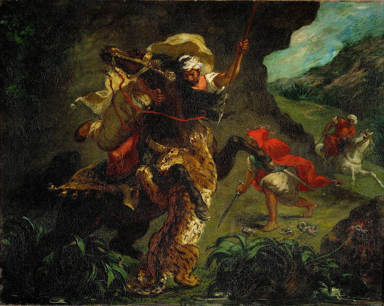 The Tiger Hunt, 1854, Delacroix Eugène, France
