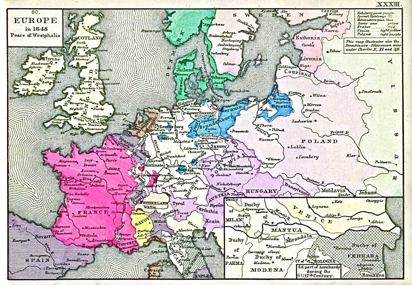 Map of Europe by the end of 1648, 1884, 'An Historical Atlas' by Robert H. Labberton