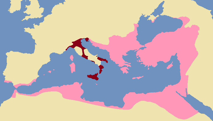 Map of Exarchate of Ravenna in 600 AD