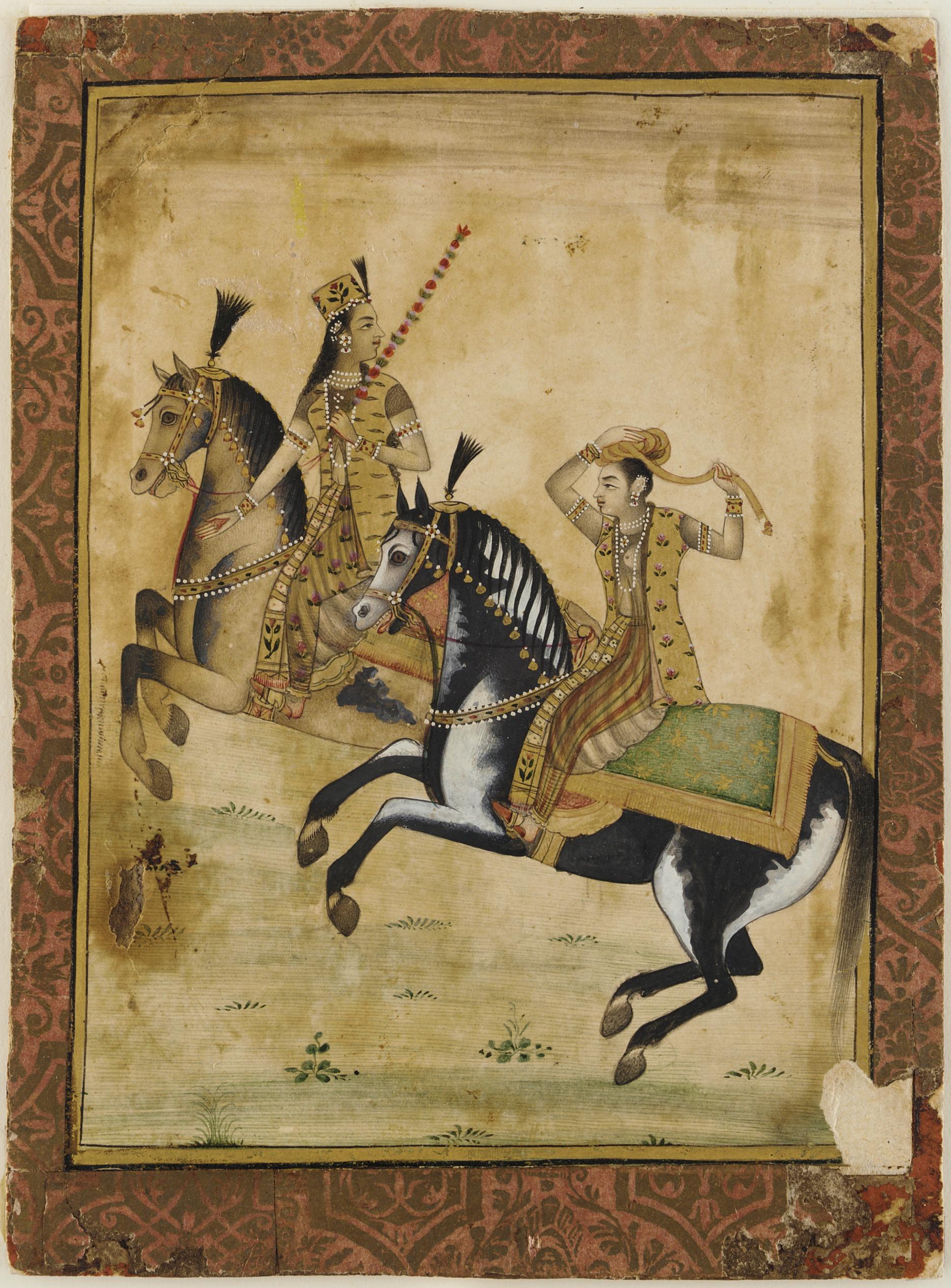 A Prince and princess on horseback, 18th century, Mughal Empire