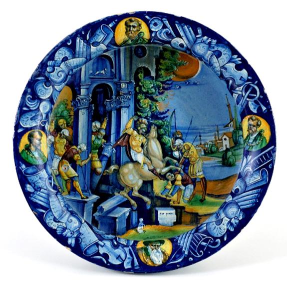 Bergantini cup depicting the history of the sacrifice of Marcus Curtius, 1529, Pietro Bergantini, Faenza
