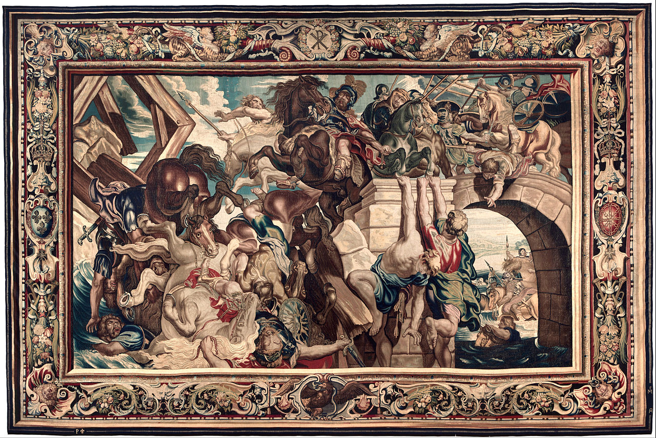 Tapestry showing the Triumph of Constantine over Maxentius at the Battle of the Milvian Bridge, 1622, Peter Paul Rubens, Flemish