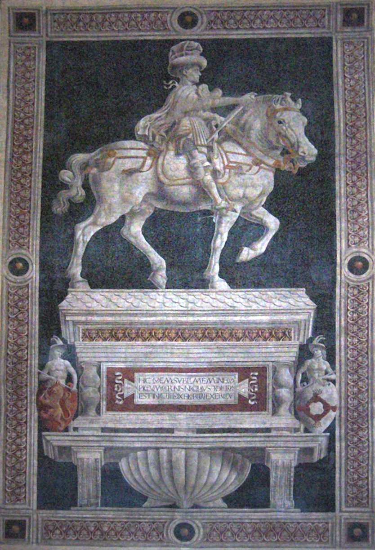 Painted Equestrian statue of Niccolò da Tolentino (fresco), 1456, Andrea del Castagno, Florence Cathedral, Italy