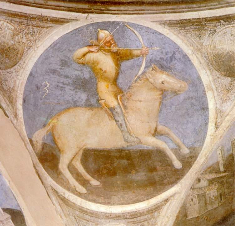 First Horseman of the Apocalypse, fresco in the Baptistry, 14th century, Giusto de' Menabuoi, Padua, Italy