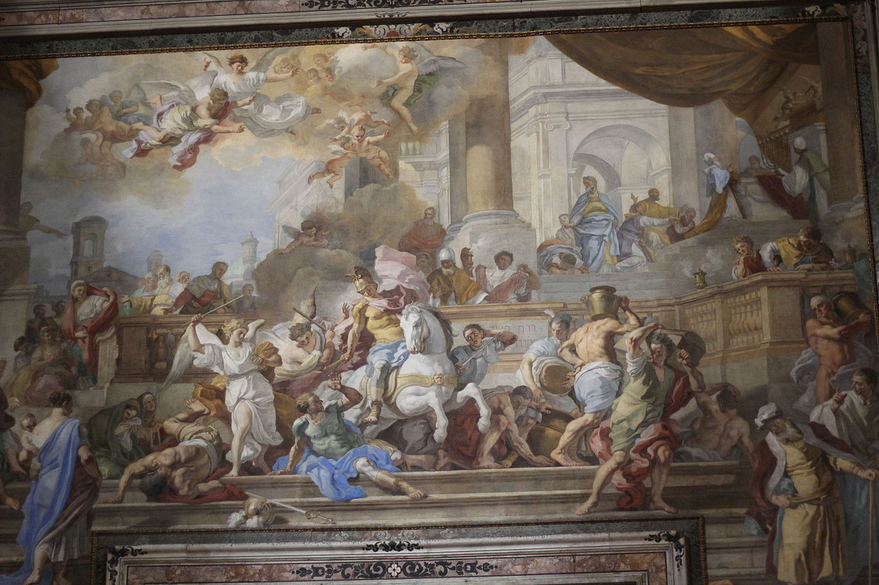 Expulsion of Heliodorus from the Temple (fresco), cr. 1725, Francesco Solimena, Naples, Italy