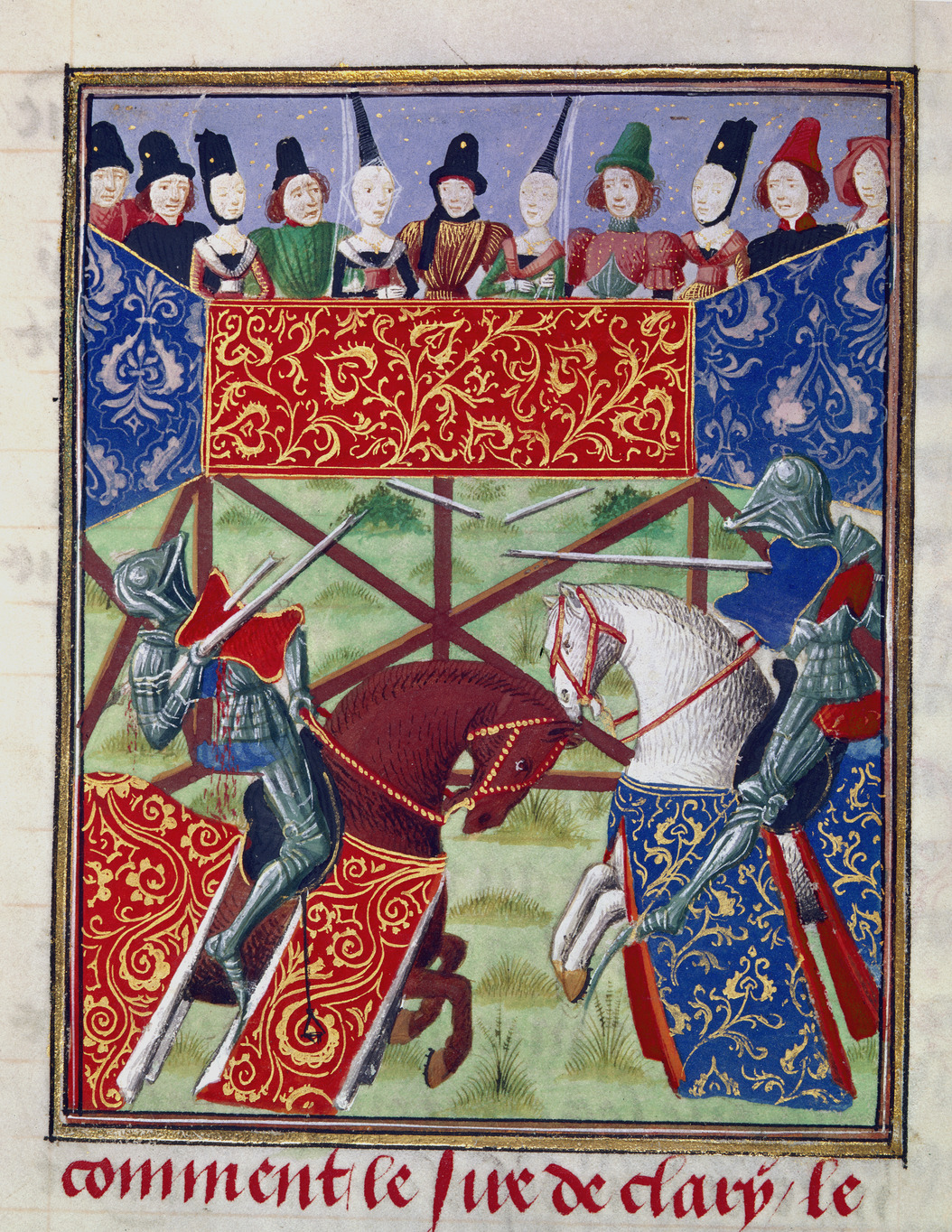 Joust between Pierre de Courtenay and the Sire de Clary, cr. 1470-5, Flemish