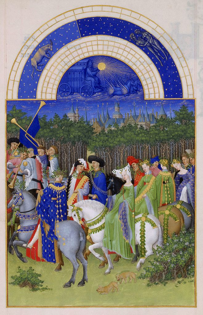Month of May, illustration of The Very Rich Hours of the Duke of Berry, 1485-89, Jean Colombe, Paris, France