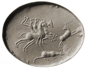 Two horsemen and a hound attack stags, ??, Greco-Persian