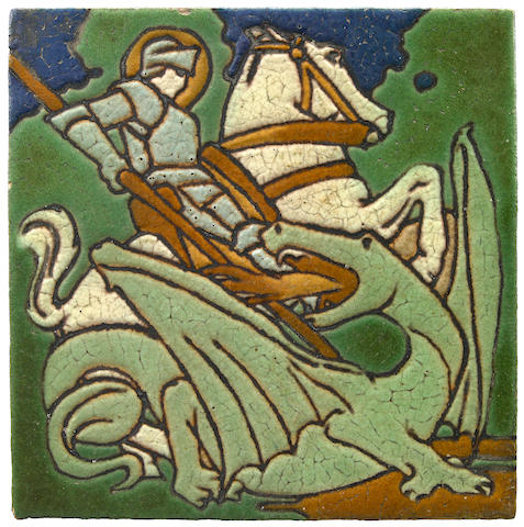 Cuenca and cuerda seca floor tile depicting St George and the dragon, cr. 1900, Grueby Faience Company, U.S.A.
