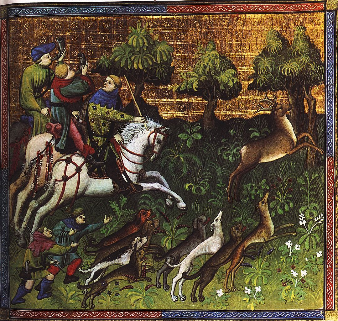 Deer-hunting with greyhounds, illustration of The Hunting Book of Gaston Phebus, early 15th century, France