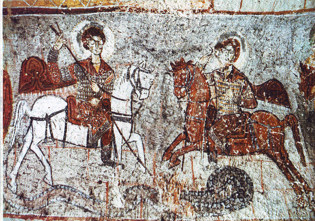 Saint George and Saint Theodore of Amasea, killing the dragon, Frescoes on a wall of cave church, 12th century, Yilanli Church, Goreme, Cappadocia, Turkey