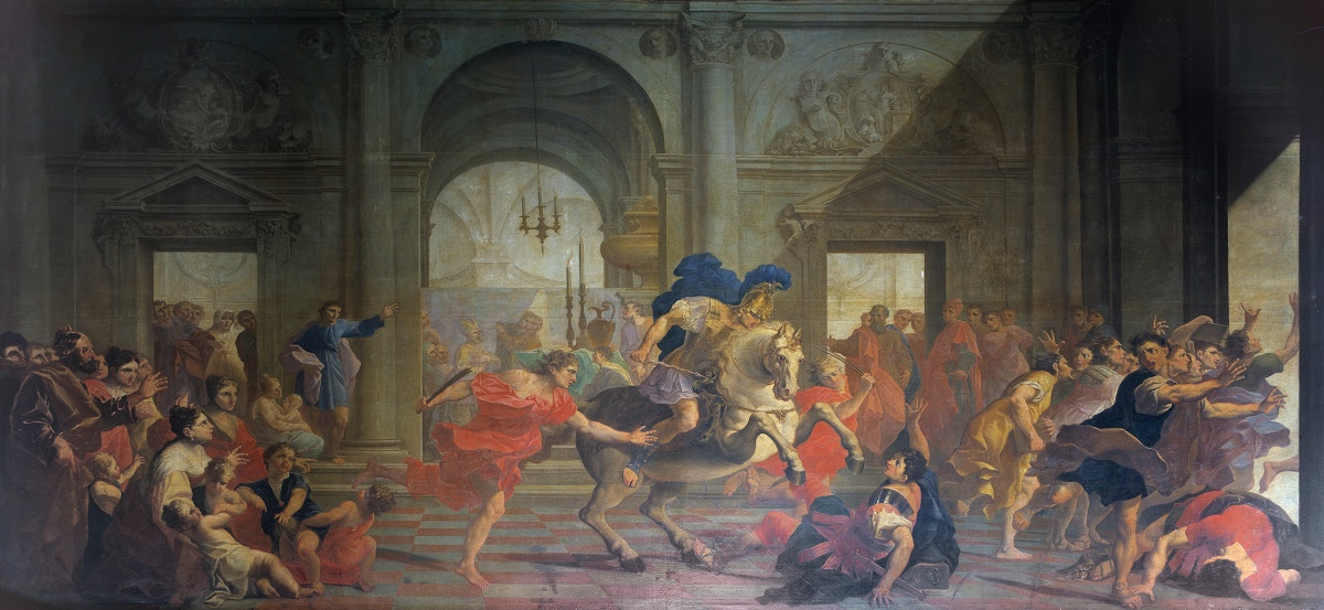 Expulsion of Heliodorus from the Temple, 1700, Giuseppe Tortelli, Brescia, Italy