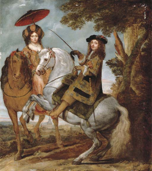 Equestrian portrait of an elegant gentleman and lady in a wooded landscape, second half of the 17th century, Gonzales Coques